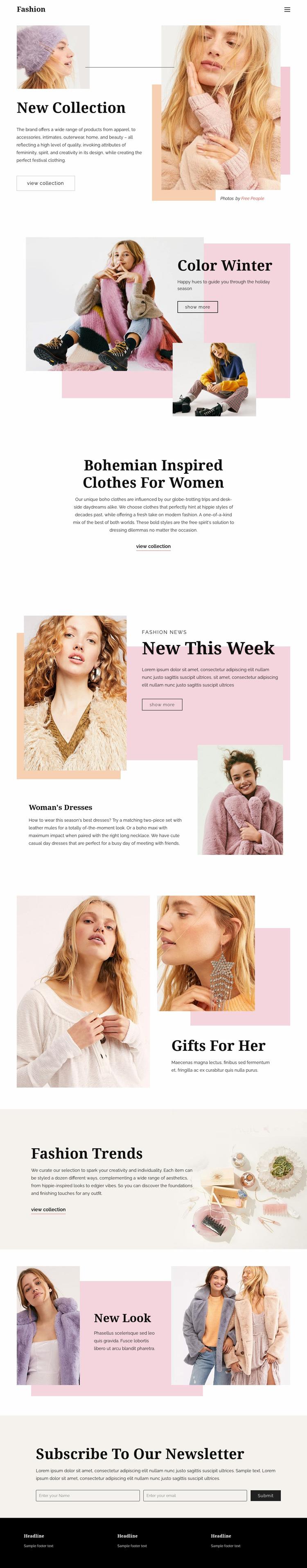 Fashion Page Design Web Page Designer