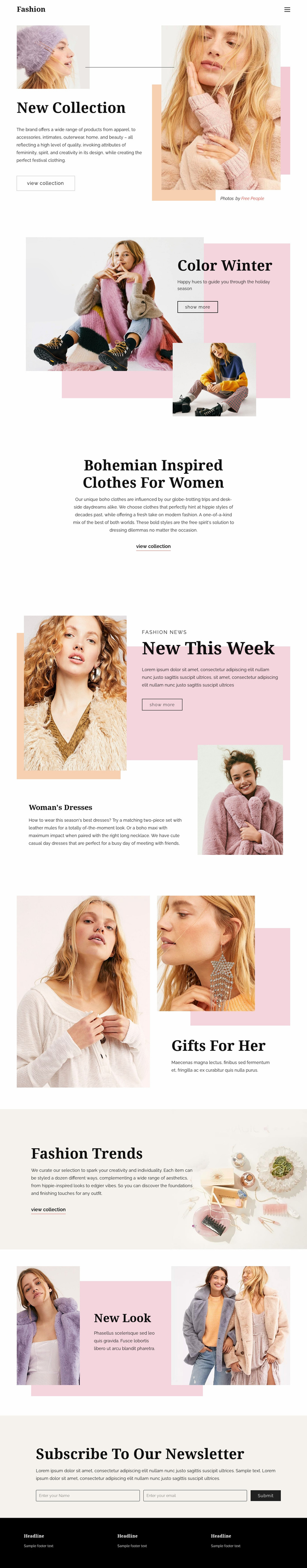 Fashion Page Design Website Template