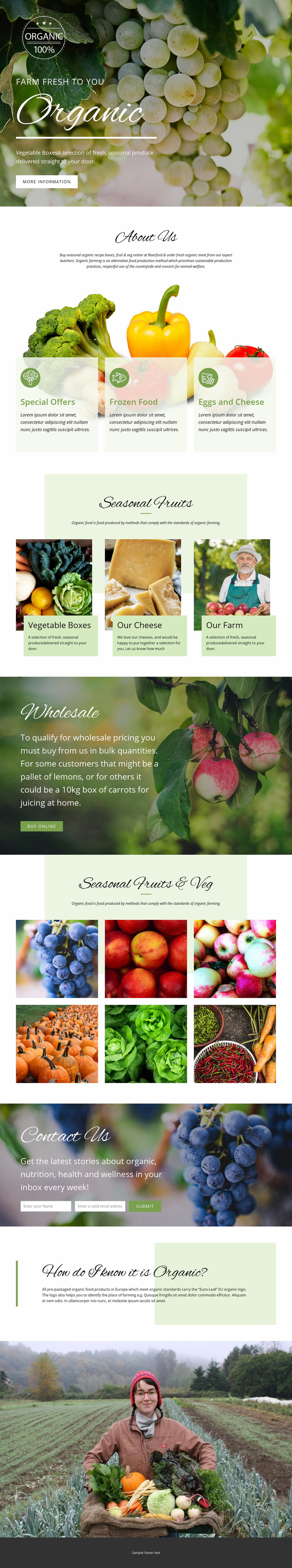 Healthier with organic food Web Page Design
