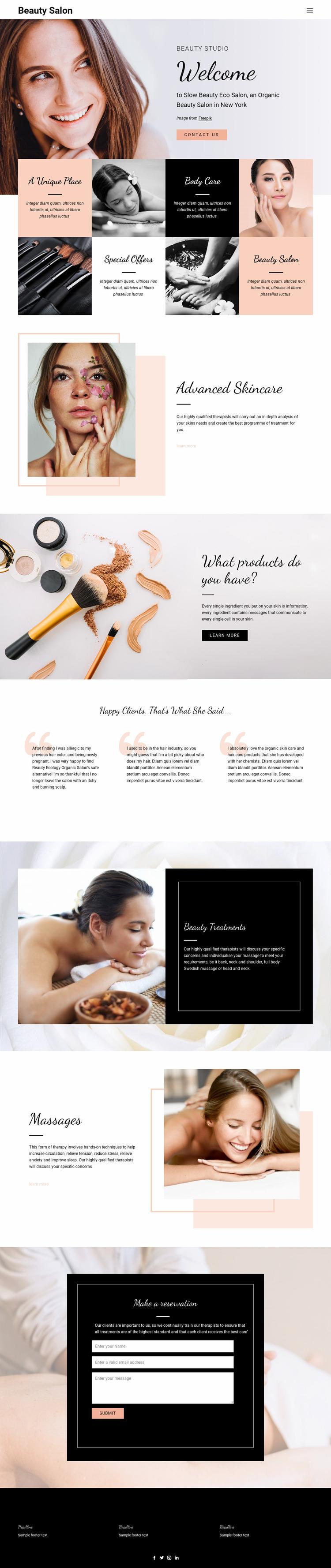 Hair, nail and beauty salon Website Mockup