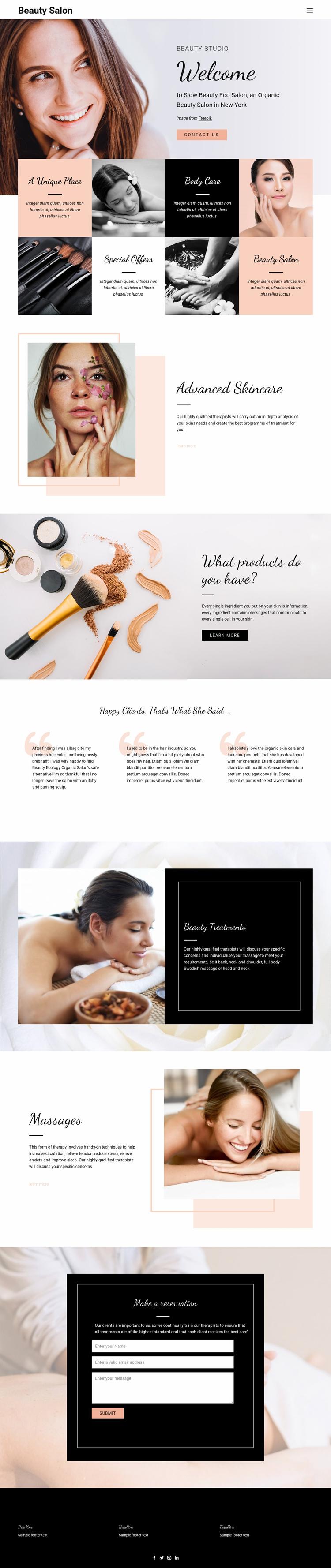 Hair, nail and beauty salon Website Template