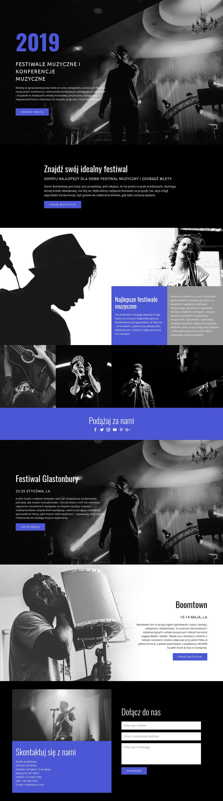 Festiwale muzyczne Szablon witryny sieci Web