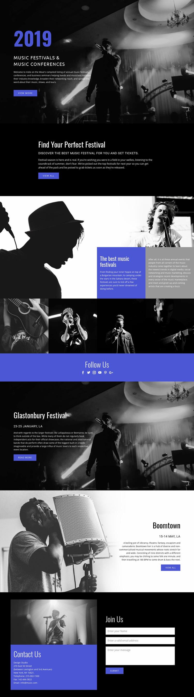 Music Festivals Web Page Design