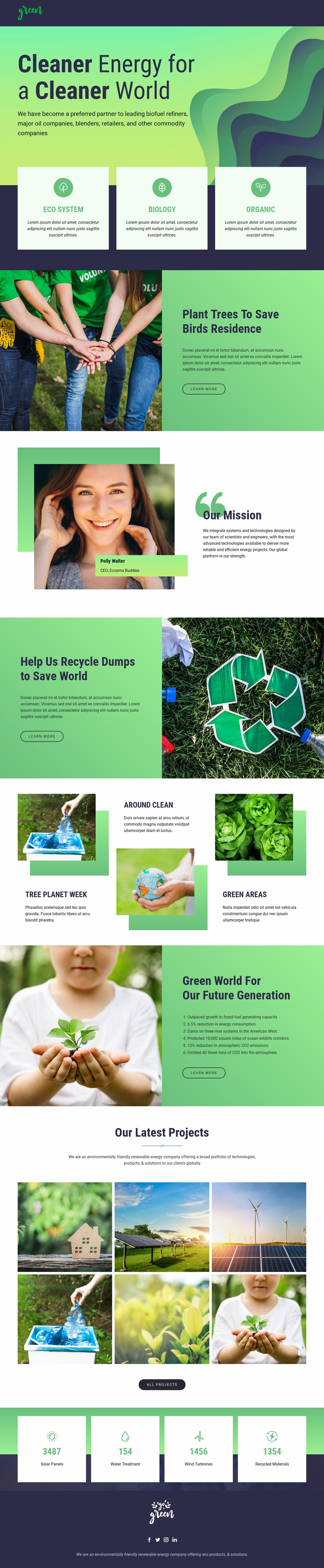 Clean energy to save nature Web Page Design