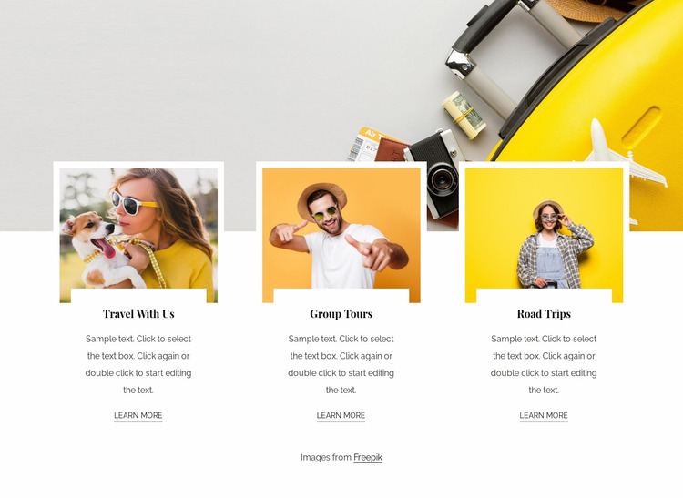 Well organised small group tours Website Mockup
