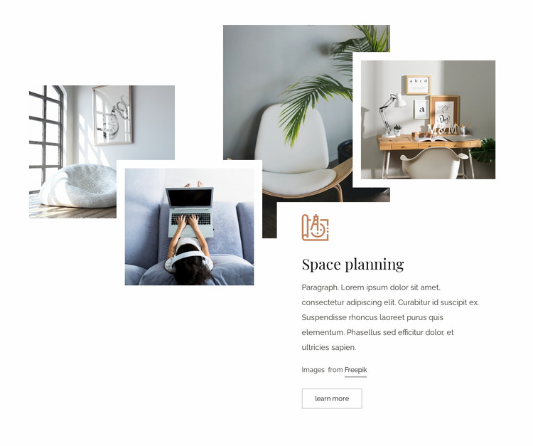 Functional space planning Website Mockup