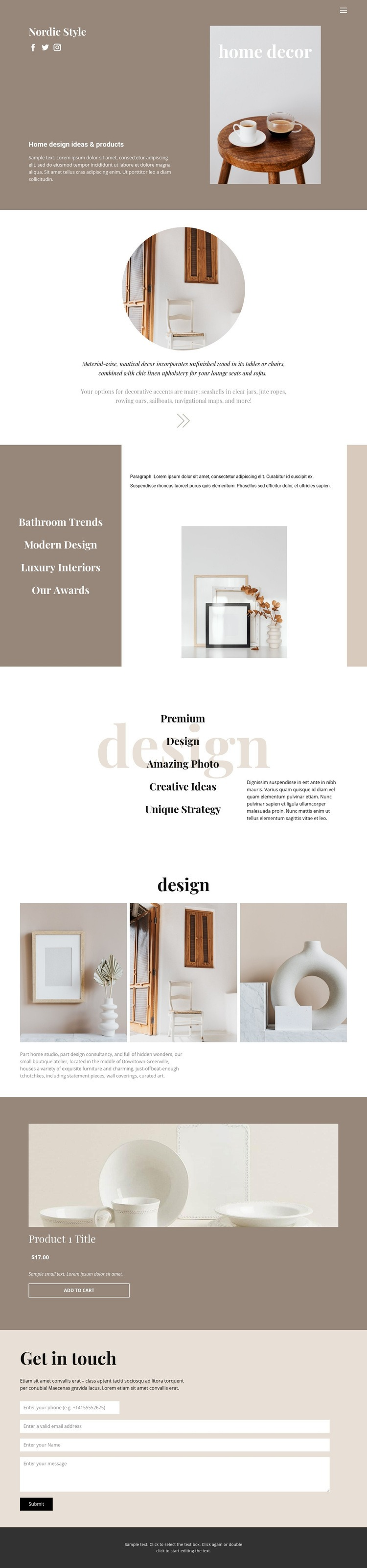 Cozy style at home Homepage Design