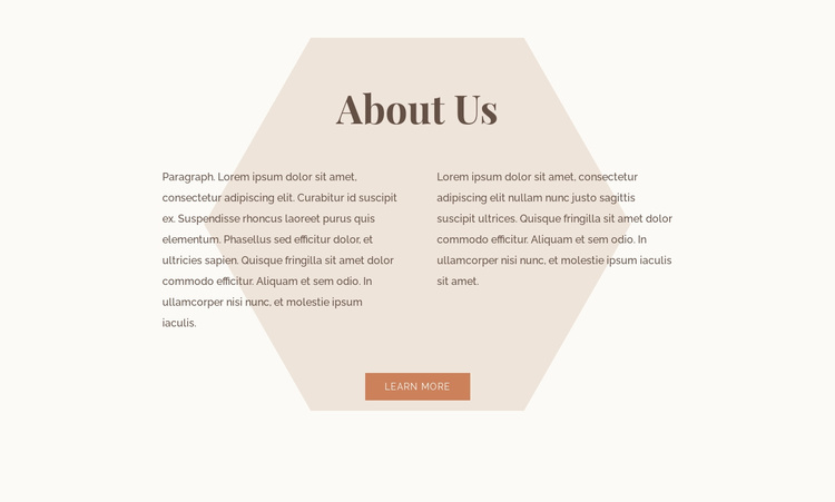 Text with hexagon Landing Page