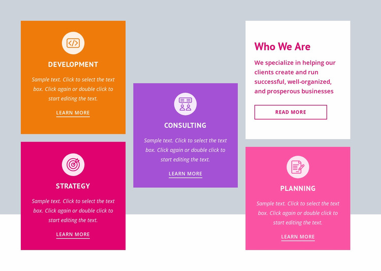 Strategy and business planning Website Mockup