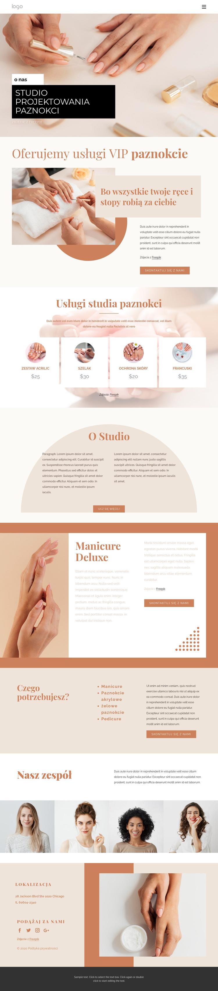 Profesjonalne zdobienie paznokci Szablon witryny sieci Web