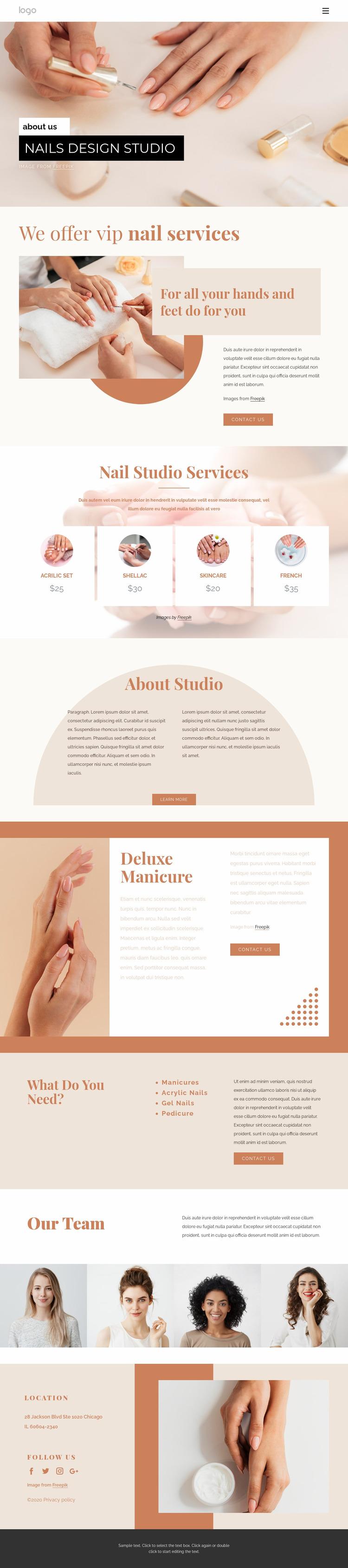 Professional nail art WordPress Website Builder