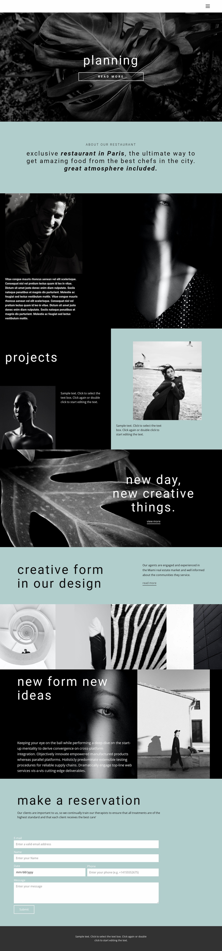 All about creative design Landing Page