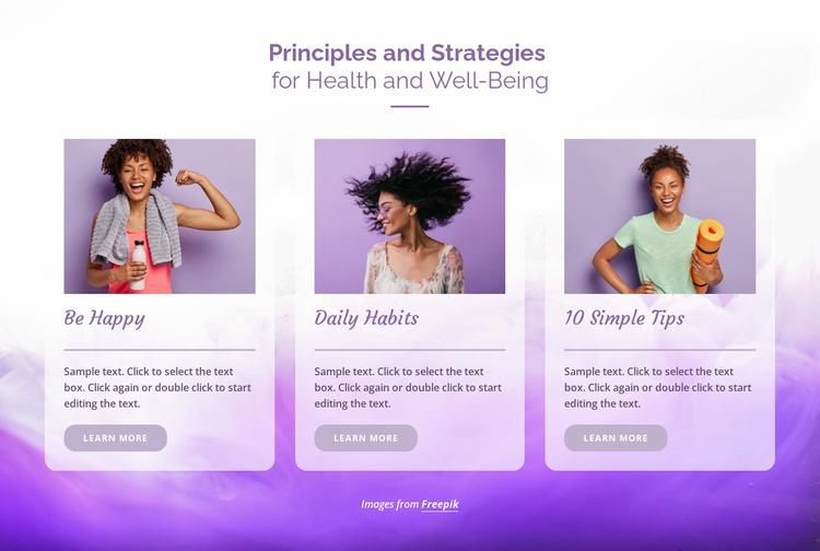 Principles of health Website Mockup