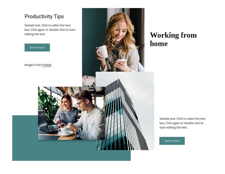 Working from home office Web Page Design