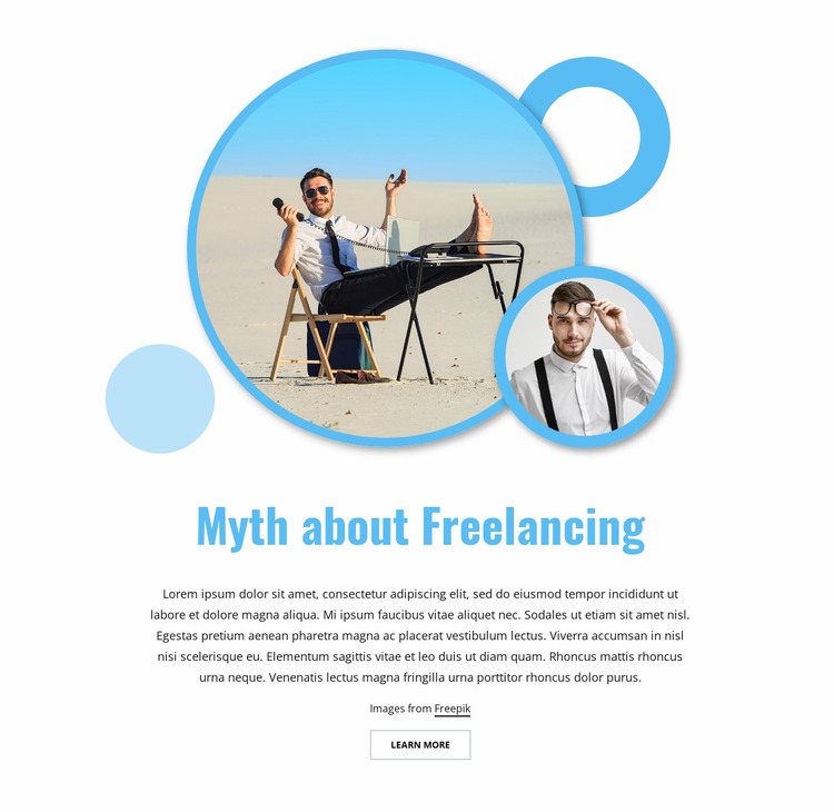 Myth about freelancing Website Mockup