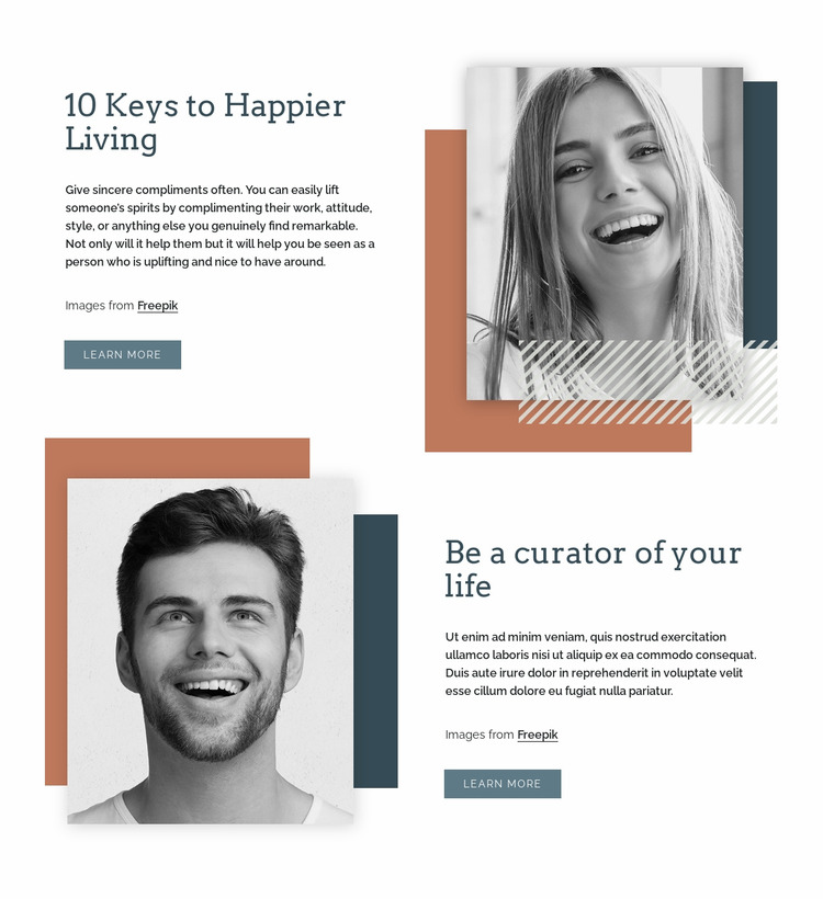 Keys to happier living Html Website Builder