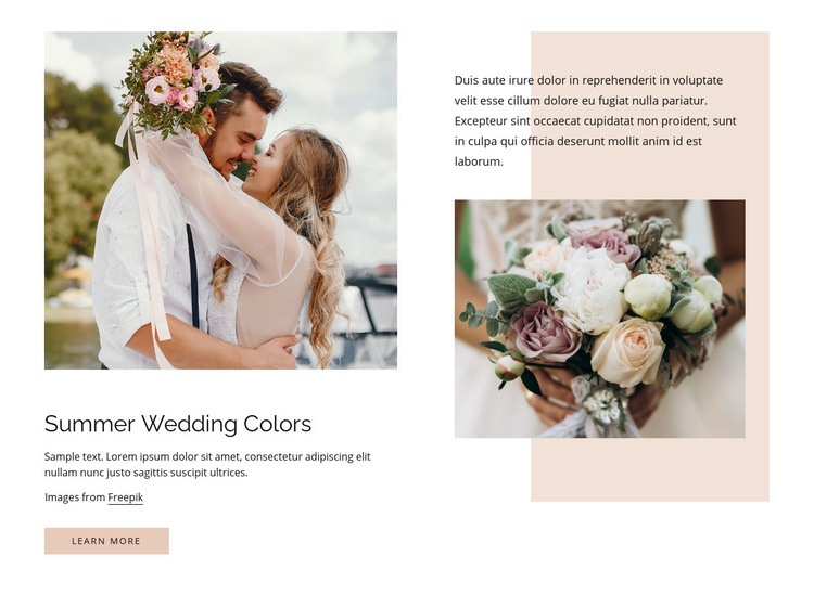 Summer wedding colors Web Page Design