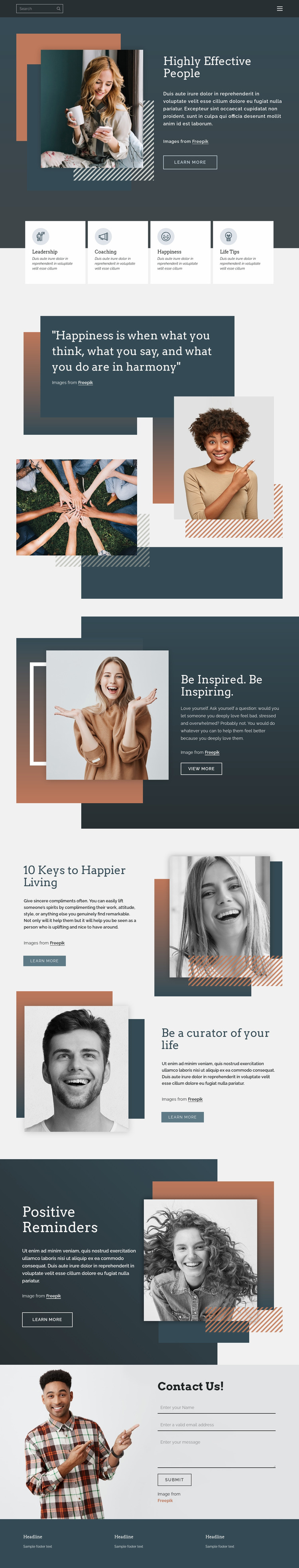 How to be successful in life Website Mockup
