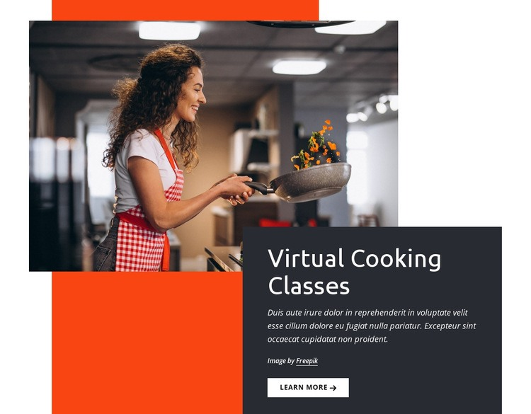 Virtual cooking classes Web Page Design