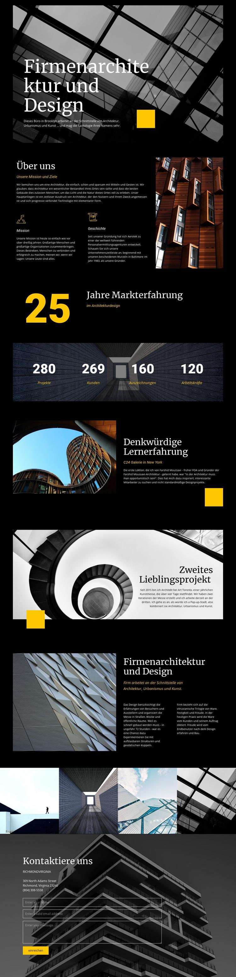 Firmenarchitektur und Design Website-Vorlage