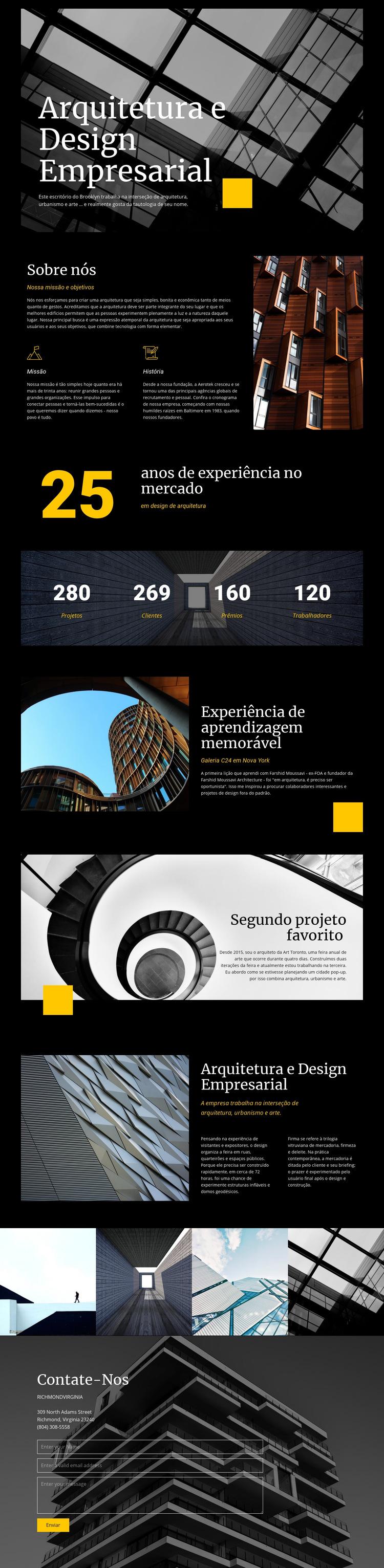 Arquitetura e design empresarial Modelo de site