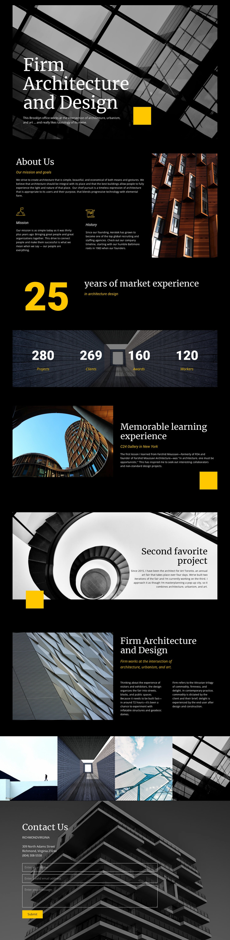 Firm architecture and Design Website Mockup