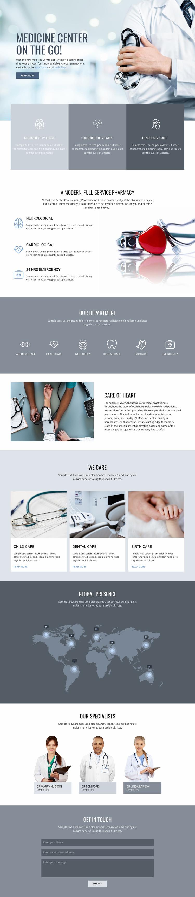 Center of quality medicine Landing Page