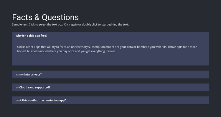 Facts and questions HTML5 Template