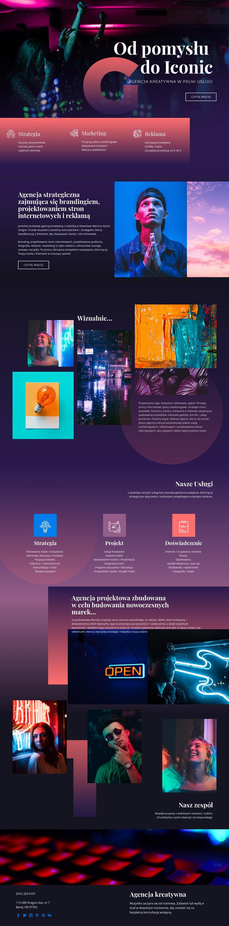 Kultowe idee sztuki Szablon witryny sieci Web