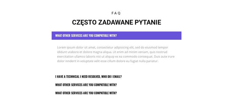 Sprawdź popularne pytania Szablon witryny sieci Web