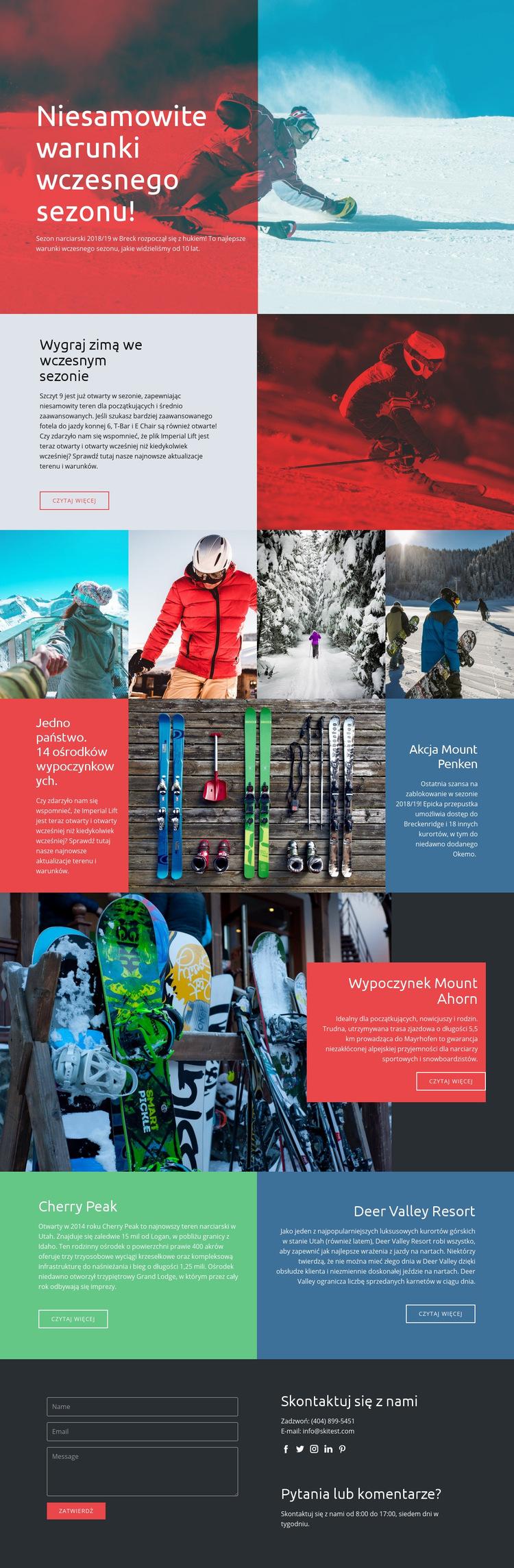 Sezon sportów zimowych Szablon witryny sieci Web