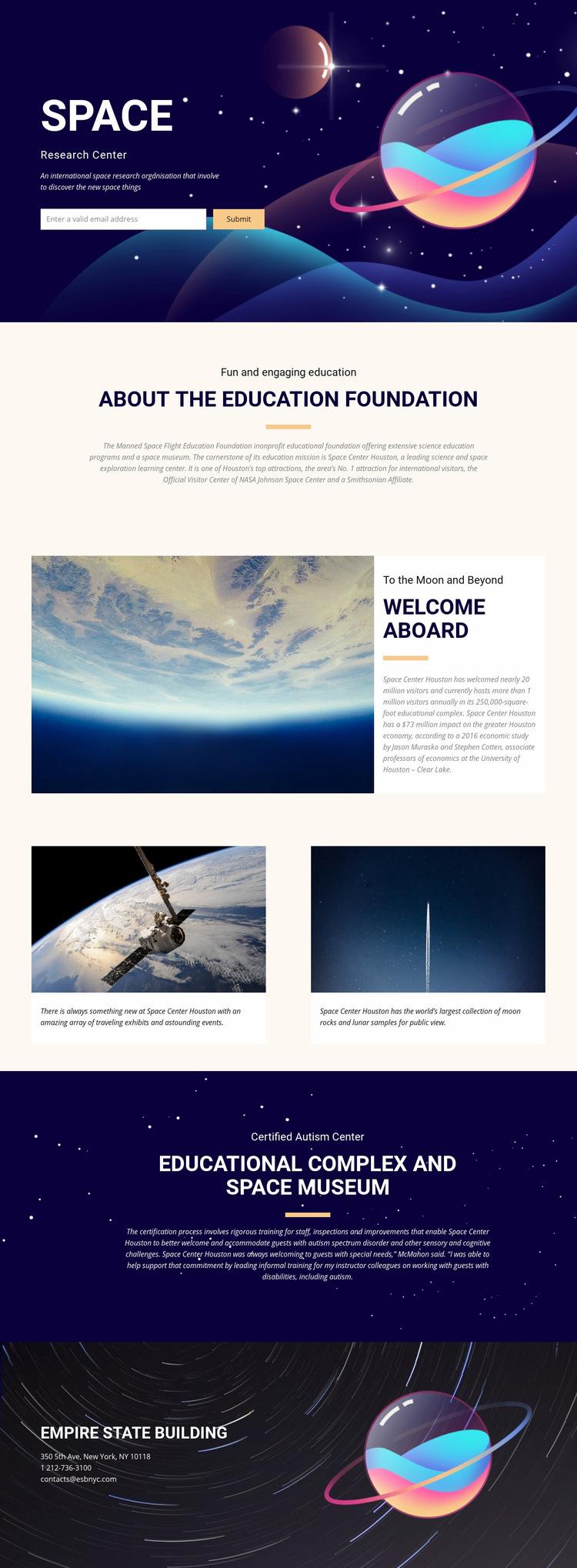 Space Web Page Design