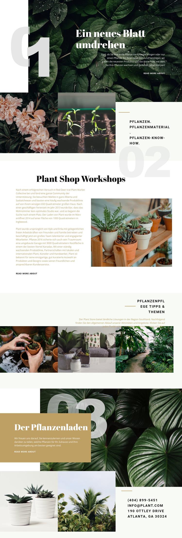 Pflanzenladen Website-Vorlage
