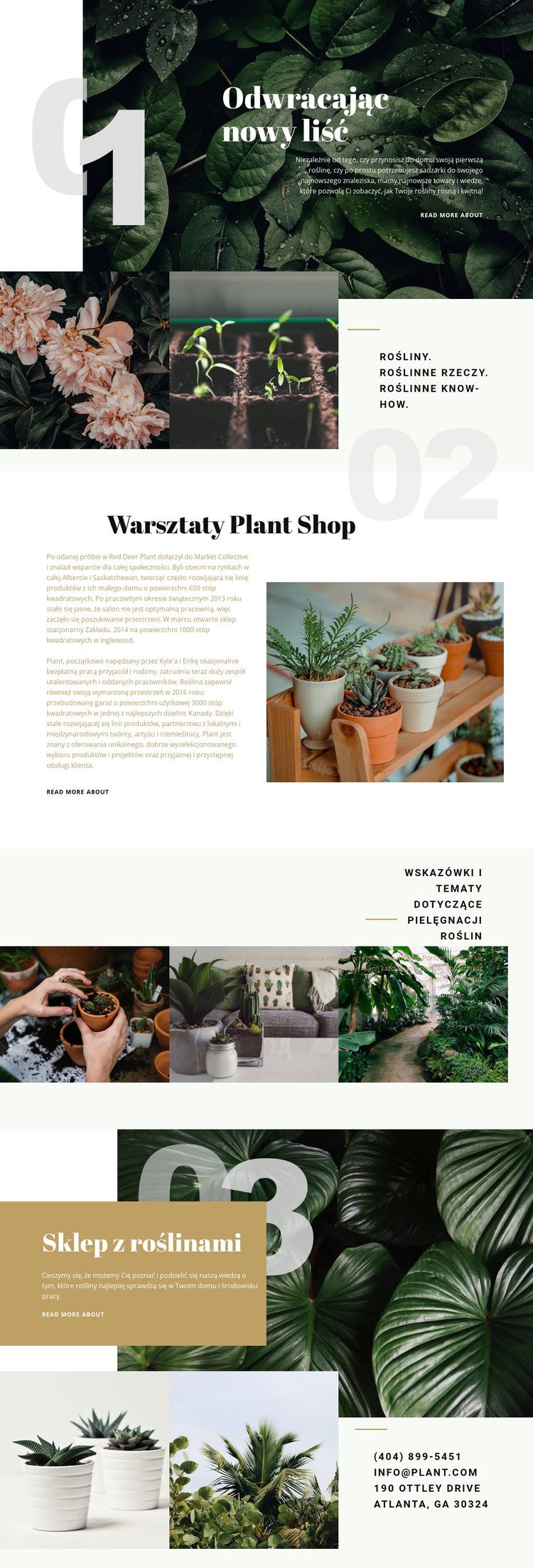Sklep z roślinami Szablon witryny sieci Web