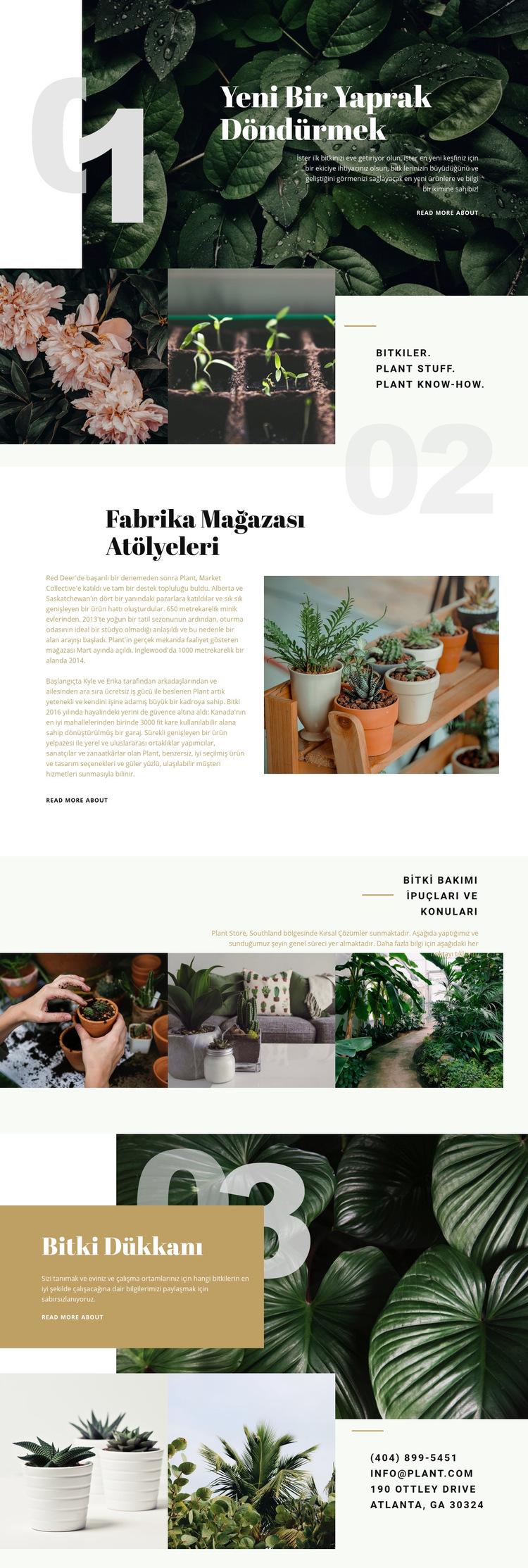 Bitki Dükkanı Web Sitesi Şablonu