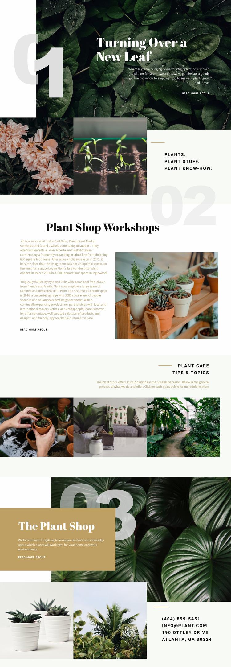 Plant Shop Website Mockup