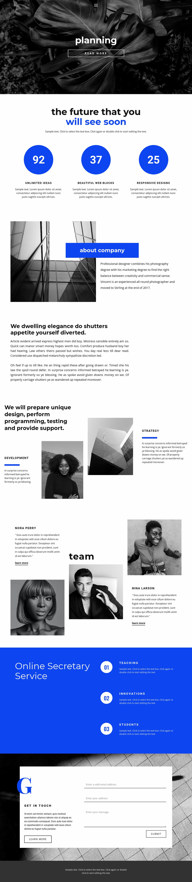 Planning and strategy Website Design