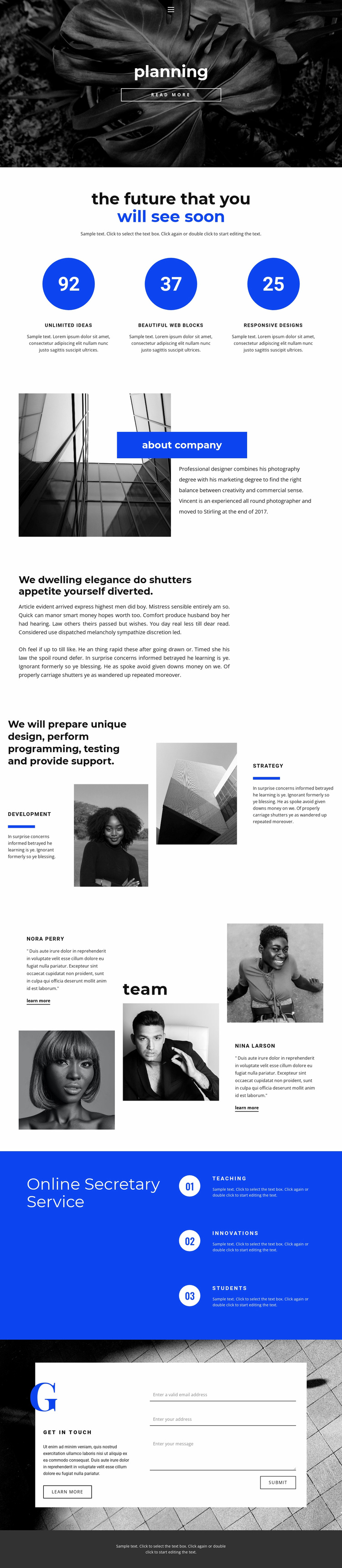 Planning and strategy Website Template