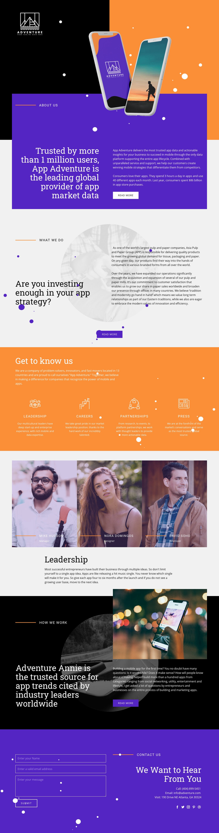 Travel App Web Page Design