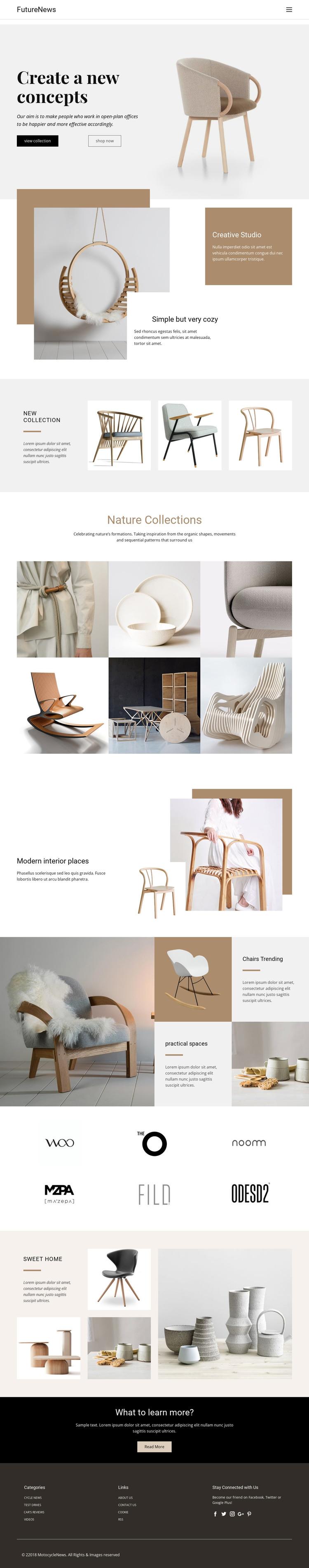 Modern living interior Web Design