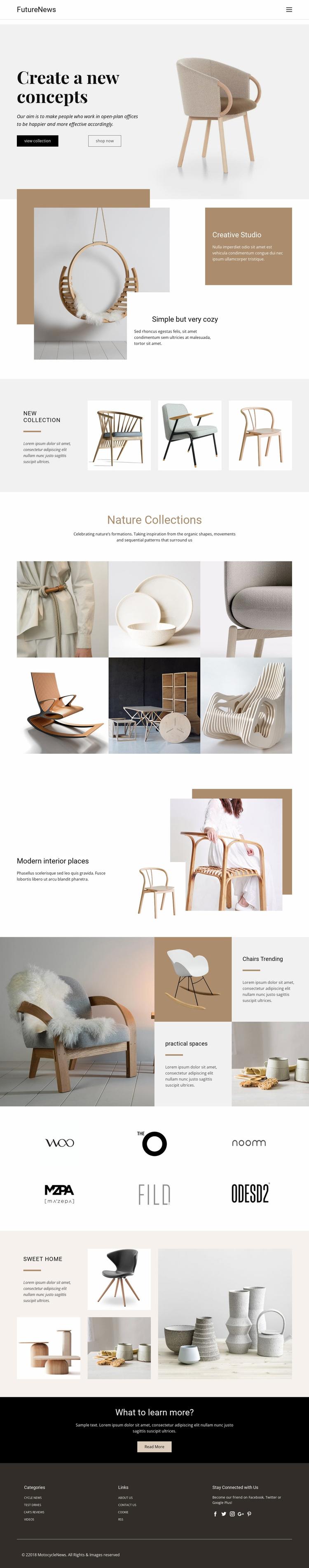 Modern living interior Website Design