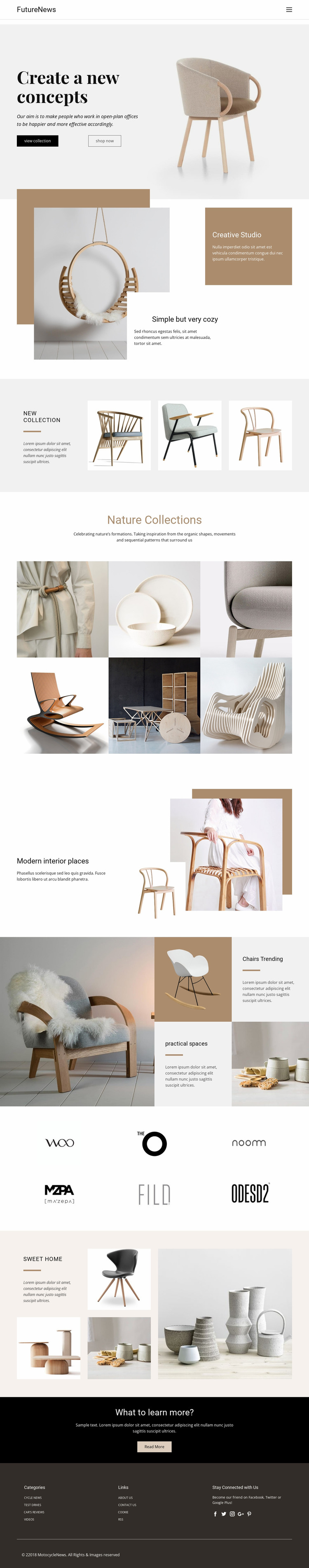 Modern living interior Website Mockup