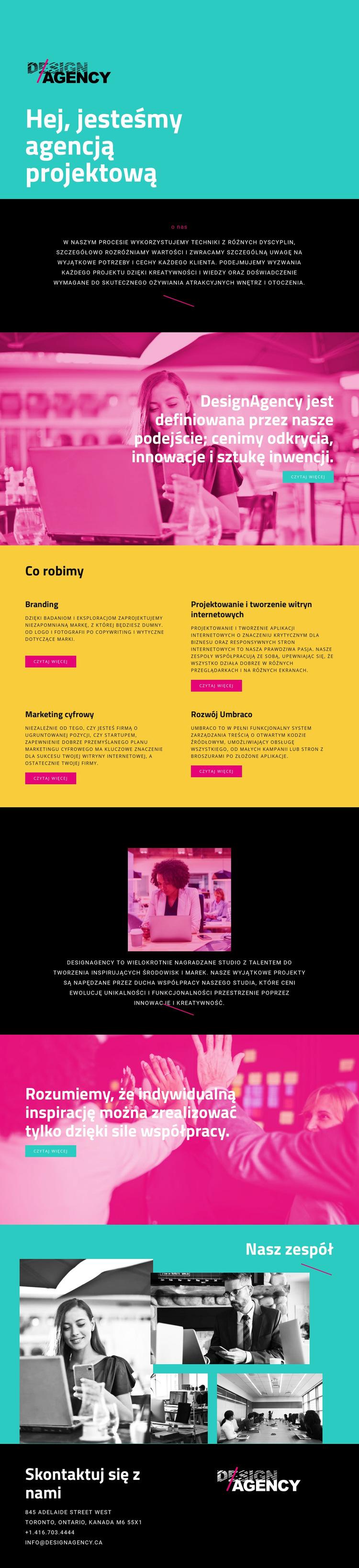 Witam, jesteśmy agencją projektową Szablon witryny sieci Web