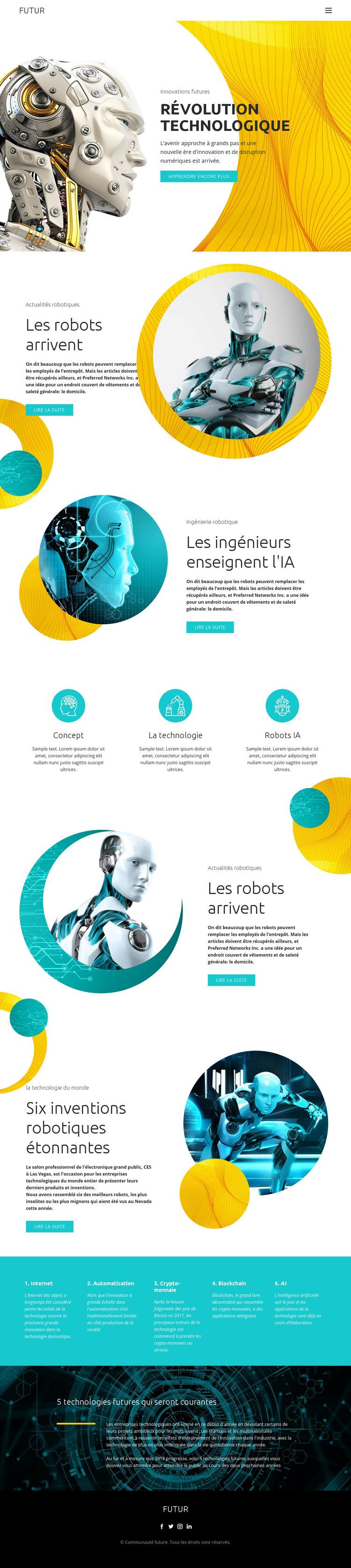 Progrès de la technologie robotique Modèle de site Web