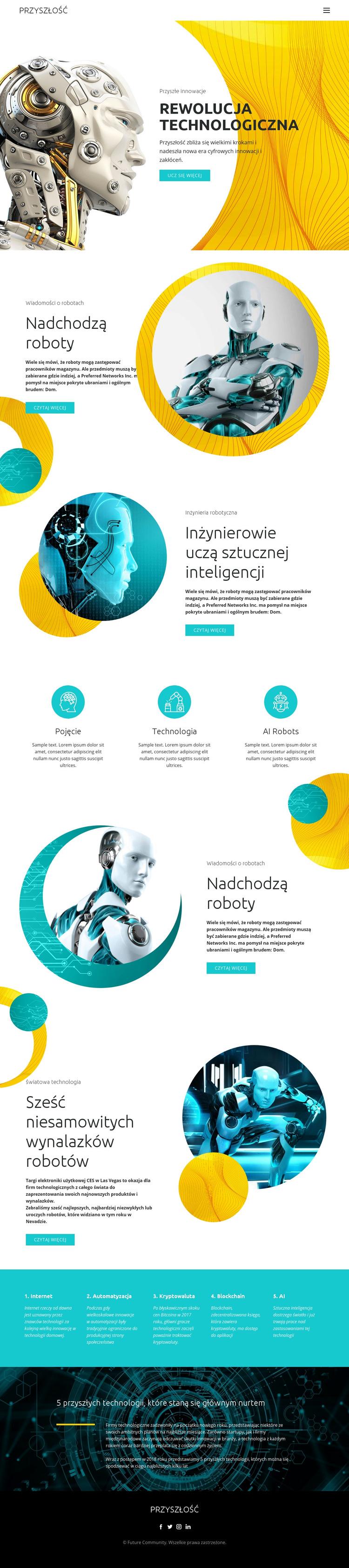 Postęp w technologii robotów Szablon witryny sieci Web