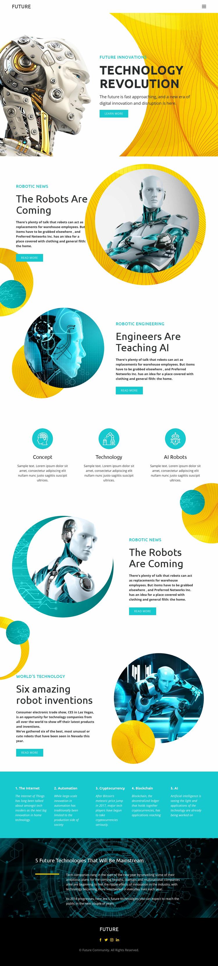 Progress in robot technology  Web Page Designer