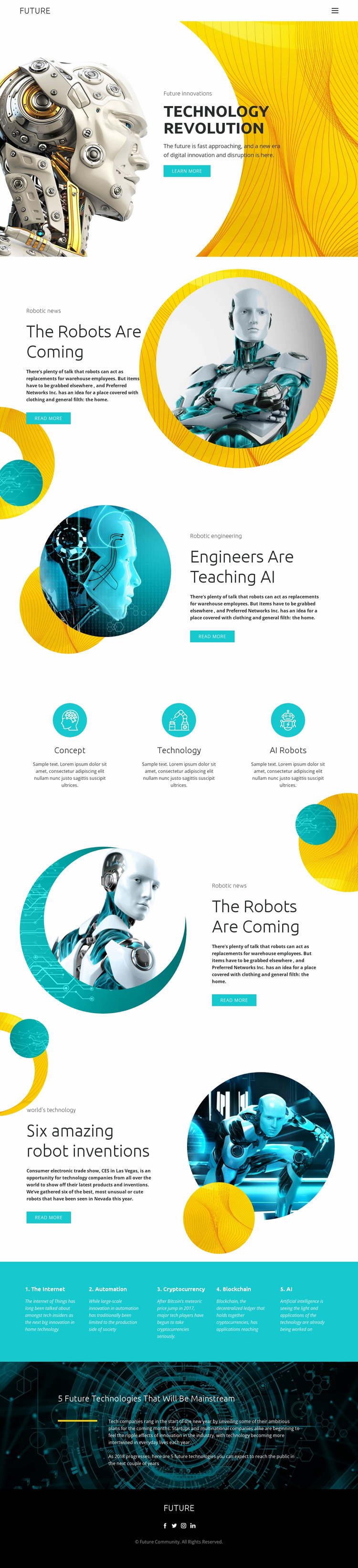 Progress in robot technology  Website Mockup