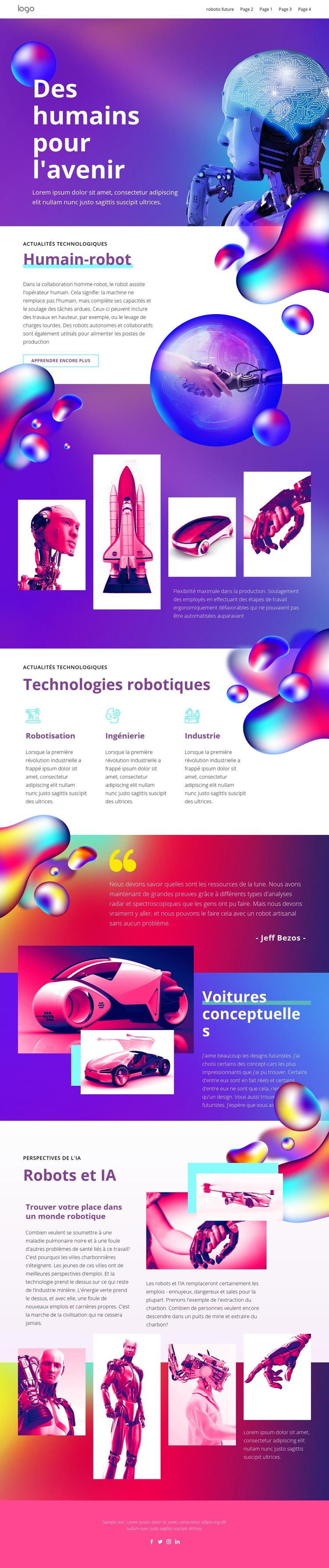 Technologie humaine du futur Modèle de site Web