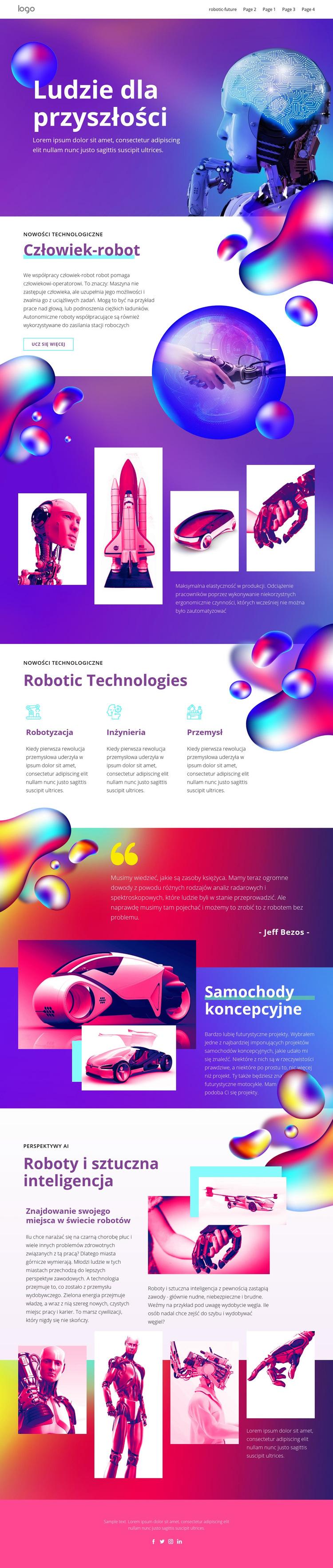 Przyszła technologia ludzka Szablon witryny sieci Web