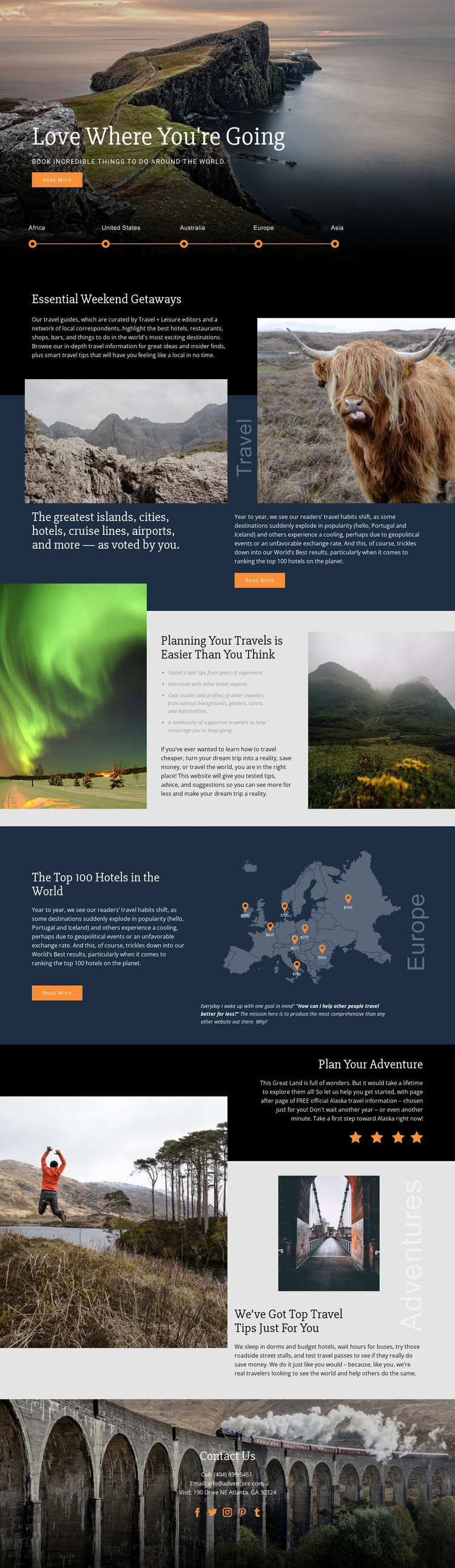 Planning Your Travel One Page Template